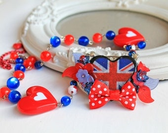 Kawaii Necklace with Bow UK United Kingdom flag  lolita red blue white flowers