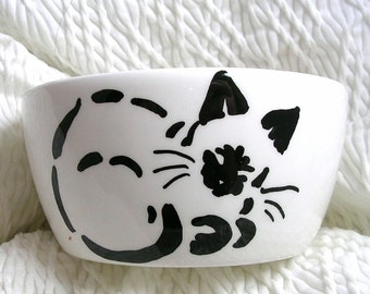 Siamese Stencil Mini Cat Bowl 6 Oz. Ceramic Cat Outside Paw Prints Inside by GMS
