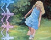 Original Painting of Female Child Playing Outside