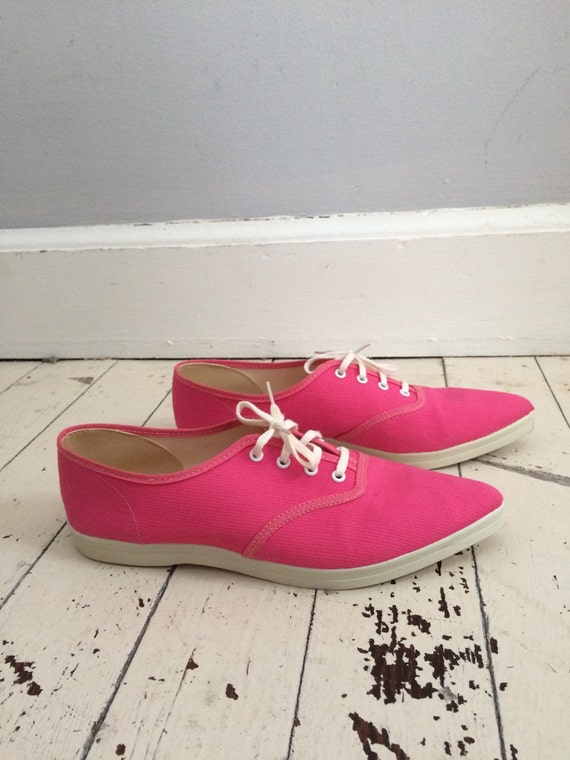pink shoes tennis shoes 1980s sneakers ponty by