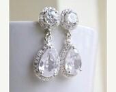 42% Off Bridal Earrings Pear CZ Teardrop Silver Post Stud CNEP2