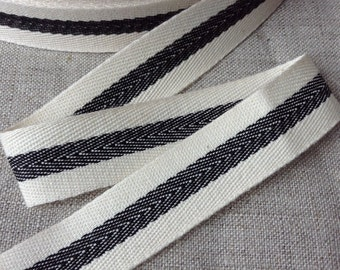 """3/4"""" Twill tape ribbon with a woven centre black stripe, herringbone french cotton ribbon, 1.8cm wide FREE SHIPPING"""