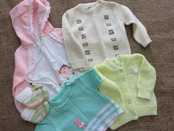 Vintage baby clothing, Lot of 4 baby sweaters, pair of booties, or vintage baby doll clothes, pink sweater hoody, vintage baby knits, bunny
