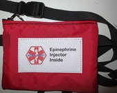 Epi Pen ® or Auvi-Q ®  pouch waist pack epipen carrier insulated zippered bag with medical alert label