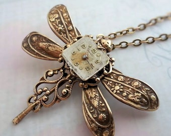 SteamPunk Dragonfly Necklace, steampunk necklace, steampunk insect, steampunk jewelry, steampunk pendant necklace, assemblage jewelry, bug
