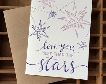 letterpress love stars card
