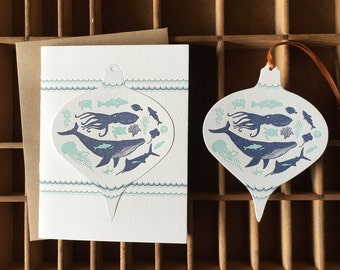 letterpress sea creatures ornament holiday card