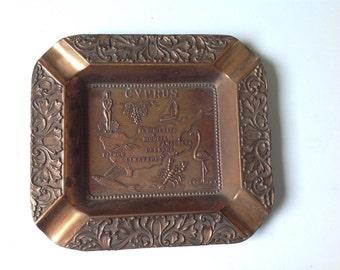 Vintage Cyprus Souvenir Metal Ash Tray