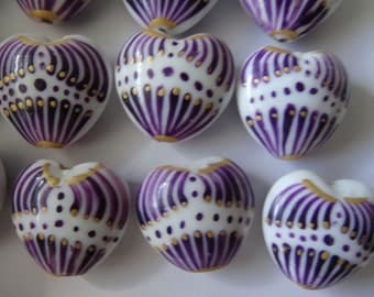 Four Glass Heart Beads or Pendants 23-23.5mm Long Purple Gold White A340