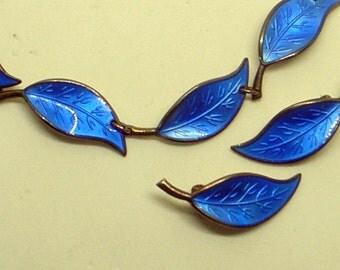 Vintage Scandinavian Bracelet,Earrings,Blue Guilloiche' Enamel,Sterling Silver,Norway,Signed,David Andersen