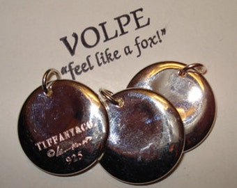 SALE Thick Tiffany silver stamping pendants 3pcs
