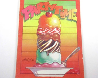 Party Time Party Invitations with Ice Cream Sundaes Pad of 20 Vintage 1980s Stationery by Paper Art Made in New Zealand