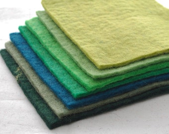 """100% Wool Felt Fabric - Approx 3mm - 5mm Thick - 7 Assorted 15cm / 6"""" Square Sheets - Green Colors"""