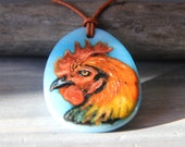 Rooster necklace - fused glass pendant