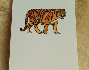 Vintage Print of Tiger Print Asian Animal Print Exotic Animal Art Card for Framing Modern Retro Tiger Home Decor Wall Hanging Big Cat Art
