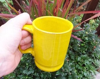 Vintage Mug Yellow Italian Stoneware Mug Mid Century Mug Rustic Italian Mug Lemon Ceramic Mug