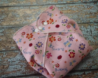 Organic cotton Winged Prefold-- Dragonfly and Butterfly