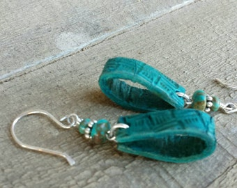 Turquoise Leather Earrings  - Hand Stamped - Turquoise and Silver Earrings - Western Jewelry - Cowgirl Jewelry - Boho Earrings