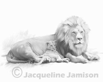 Orginal Art Digital Illustration 8x10, Lion Cub, Daddy's Princess