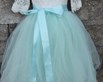 Ready to Ship Aqua Mint Long Sewn Tulle Skirt, Aqua Tutu, Toddler Tulle skirt, Girls Tutu, Flower girl dress, long tulle skirt