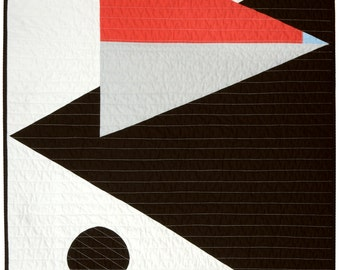 Modern Baby/Pet Quilt - Wall Quilt - Black Triangle