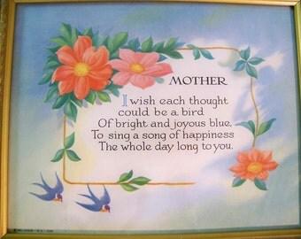 Vintage Mother Poem Motto Art Print Retro Antique Look