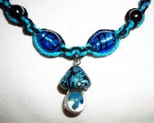 Celtic Blue Mushroom Hemp Necklace with Blown Glass pendant and Lampwork Glass beads Gemstone Magnetic Hematite Hemalyke Hemp Jewelry