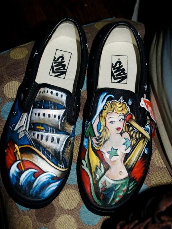 Custom women's or men's SlipCustom mens slip on Vans sneakers hand painted mens ANY size design pin up tattoo