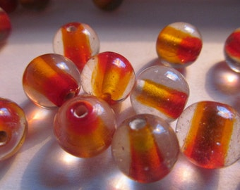 Vintage Glass Beads (8) Handmade Japanese Orange & Red Core Round Beads