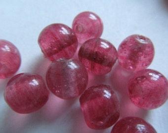 Vintage Glass Beads (6) Pretty Dark PInk Peeking Beads