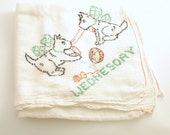 Vintage Kitchen Towel Scottish Terriers Flour Sack Tea Towel Day of the Week