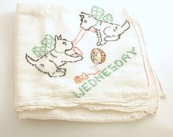 Vintage Kitchen Towel Scottish Terriers Flour Sack Tea Towel Day of the Week