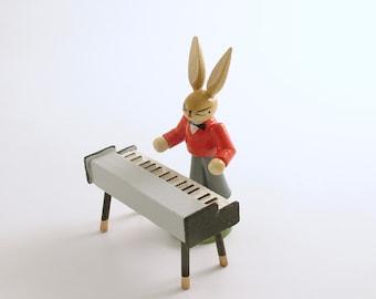 Vintage Easter Rabbit Miniature Piano Erzgebirge Germany Wood Figurine