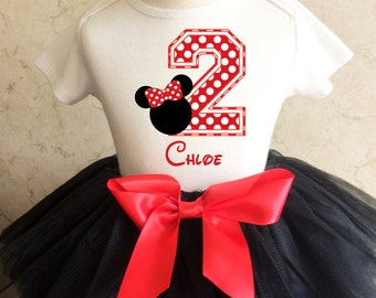 Minnie Mouse Polka dotted dots Red Black 2nd Second Girl Birthday Tutu Outfit Custom Personalized Name Age Party Shirt Set