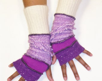 Fingerless Gloves, Arm Warmers, Orchid & Violet,  (Speckled Red Violet, Magenta, Light Orchid, Off White Angora )