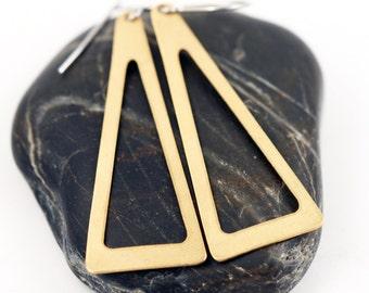 Chandelier Earrings, Open Triangle Earrings, Brass Geometric Earrings, modern minimalist earrings