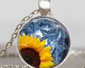 Sunflower yellow necklace, sunflower spring pendant , nature jewelry,  holidays gift idea  ,mom , mother, grandma ,nana gift