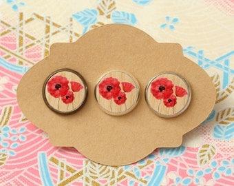 10 pcs handmade red flowers - earrings, pendant, ring - 12mm (PW-020)