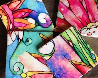 Watercolor Garden - stone coaster set