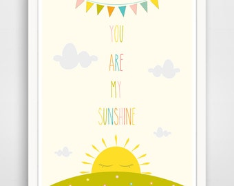 You are my Sunshine Wall Art Kids, Nursery Song, Rainbow Print, Baby Nursery Art, Yellow Sunshine Print for kids Room Art