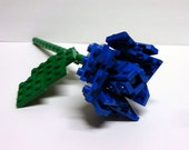 Custom Blue Single Stem Open Rose