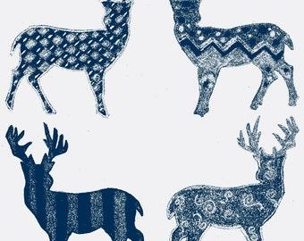 Meadow Deer Navy Blue and White Custom Cotton Print Fabric 1 YARD