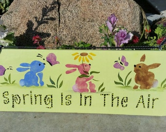 Spring bunny Easter sign