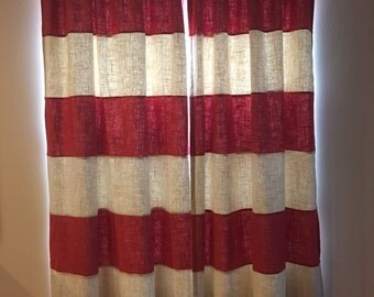 Pair of Salsa and Champagne stripe linen drapes lined size 50 x 95 - ready to ship