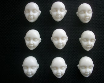 Six Acrylic Doll Face Cabochons