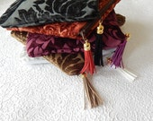 Upholstery pouch,  fringed velvet clutch,  velvet pouch,  zipper pouch, lined pouch, flat pouch, makeup bag, choose from 5 colors