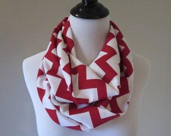 Red & White Chevron Scarf - Red Chevron Scarf - Red Infinity Scarf - Red Scarf - Chevron Scarf