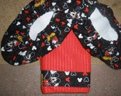 Mickey Mouse Bowling Shoe Covers and towel