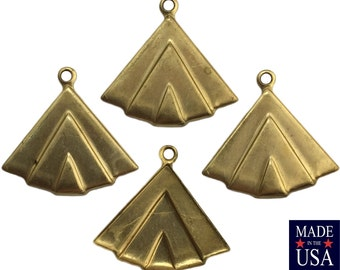 1 Loop Raw Brass Layered Triangle Charm Pendant with Loop (6) mtl391G