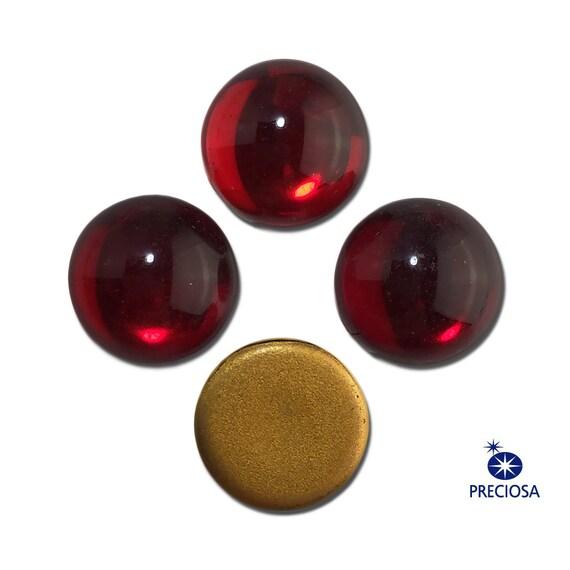 Preciosa Ruby Red Glass Cabochons 13mm (4) cab2006A